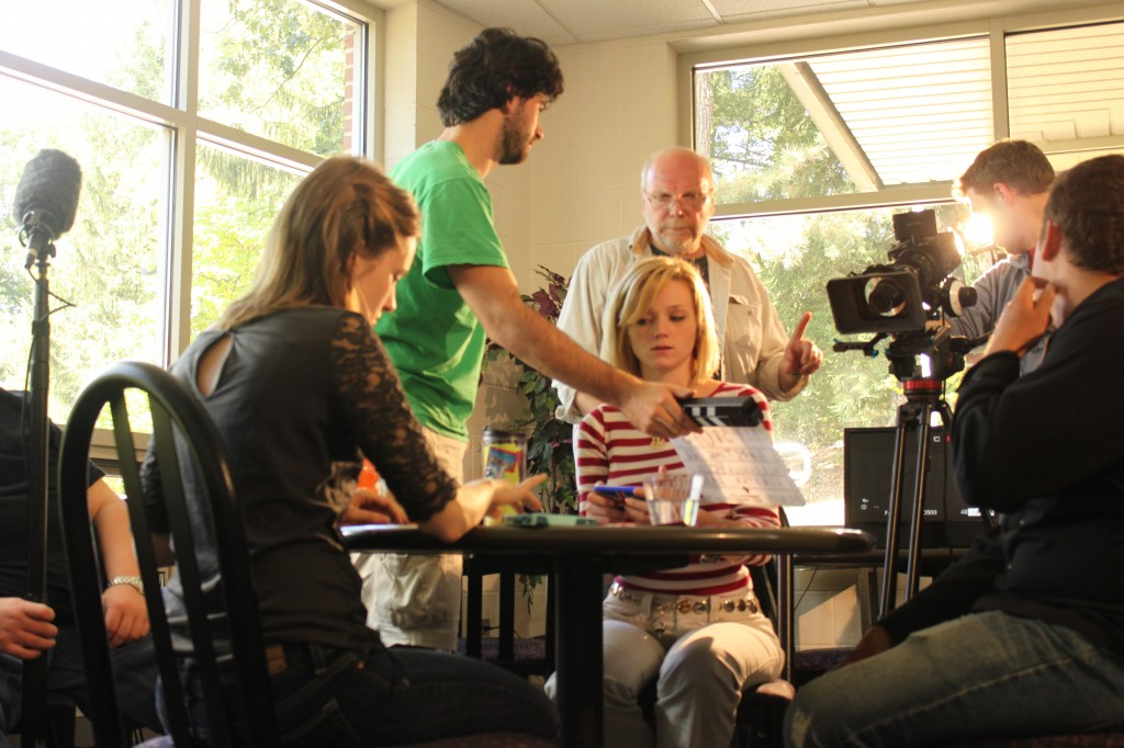 Shooting in the Mill Cafe on the Penn State Mont Alto campus with actors Elizabeth Wyld, Bex Etter, and Mike Mowen.